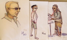 Caricatures of some of the passers-by