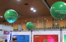 part of our booth with huge helium balloons